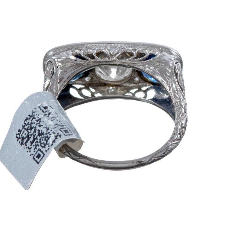 Art Deco Sapphire Diamond Platinum Filigree Ring In Good Condition For Sale In Carmel-by-the-Sea, CA