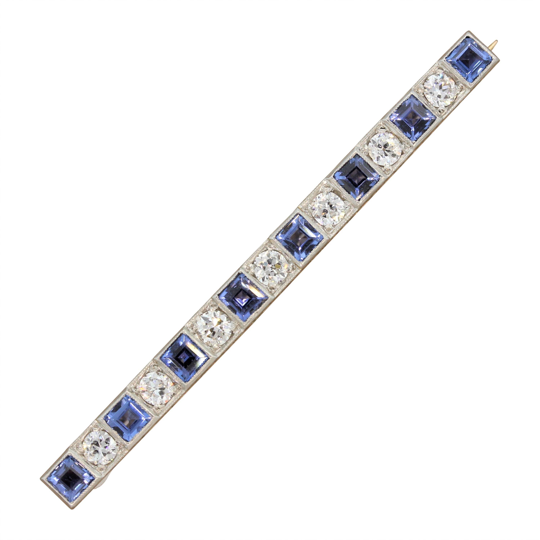 Art Deco Sapphire Diamond Platinum Gold Bar-Pin Brooch