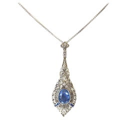 Art Deco Sapphire Diamond Platinum Necklace