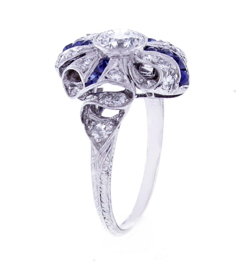Art Deco Sapphire Diamond Platinum Ring In Excellent Condition For Sale In Bethesda, MD