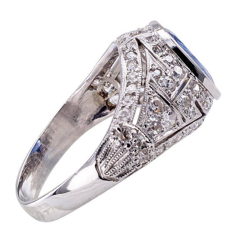 Women's Art Deco Sapphire Diamond Platinum Ring For Sale
