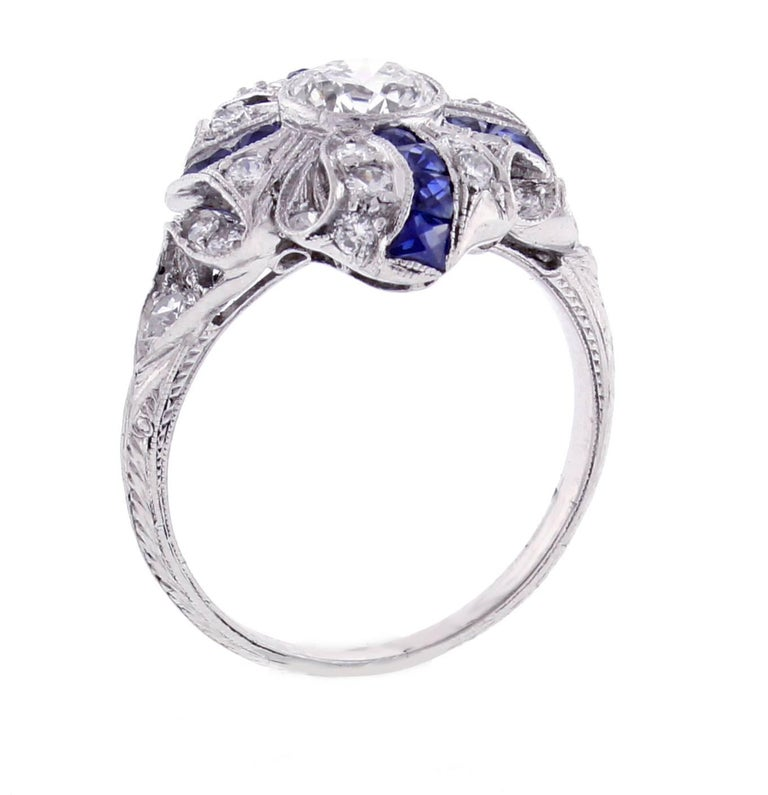 Women's Art Deco Sapphire Diamond Platinum Ring For Sale