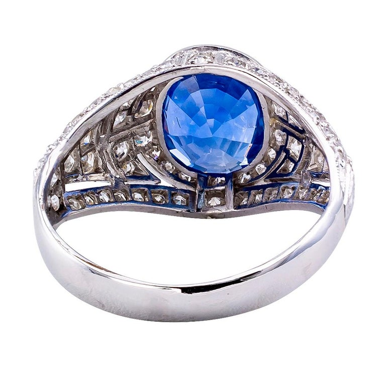 Art Deco Sapphire Diamond Platinum Ring For Sale 1