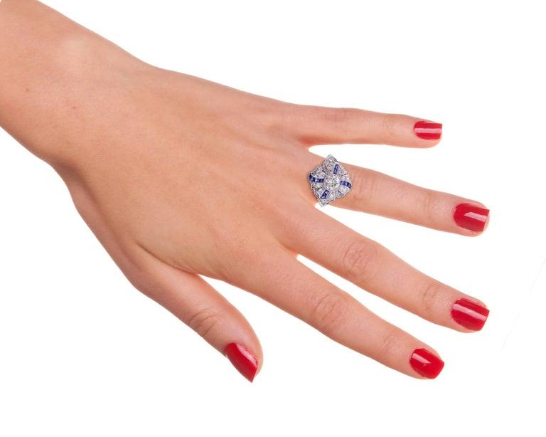 Art Deco Sapphire Diamond Platinum Ring For Sale 2