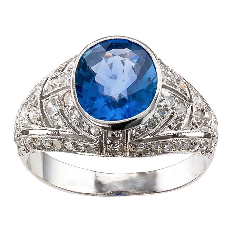 Art Deco Sapphire Diamond Platinum Ring For Sale