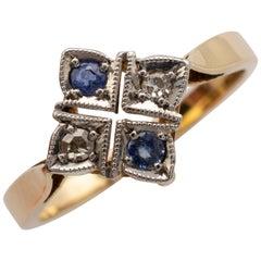 Art Deco Sapphire Diamond Ring 18 Karat Yellow Gold