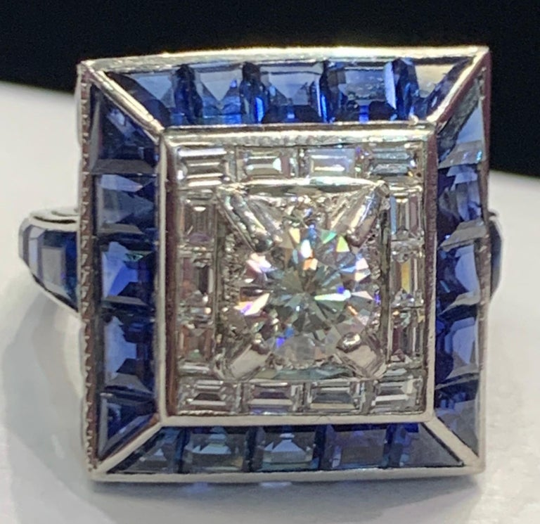 Art Deco Sapphire & Diamond Ring  Gold Type: Platinum Ring Size: 5 Re-sizable free of charge