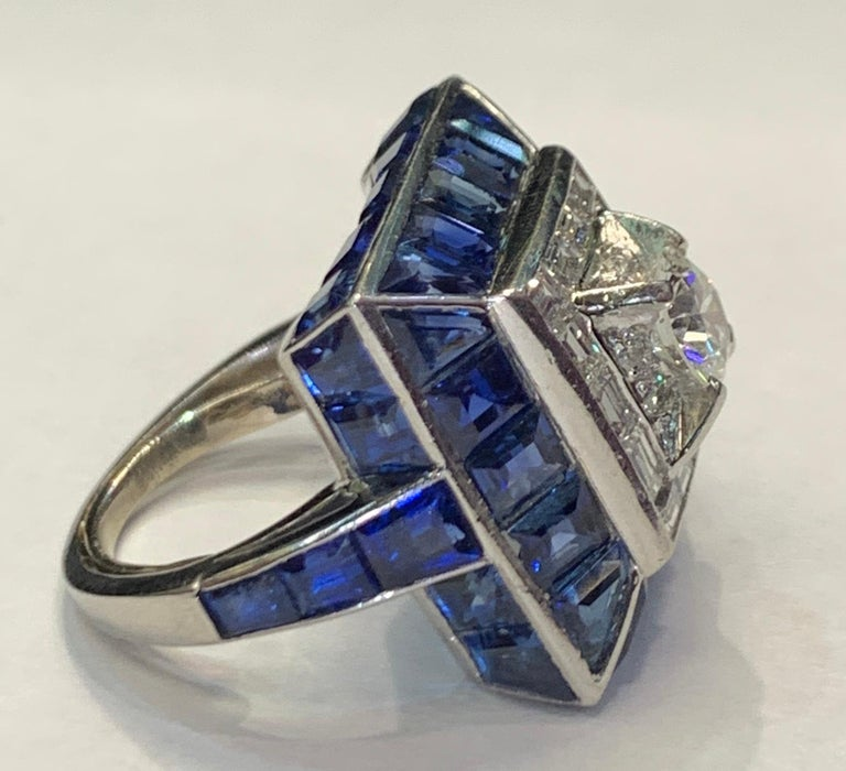 Women's Art Deco Sapphire and Diamond Ring For Sale