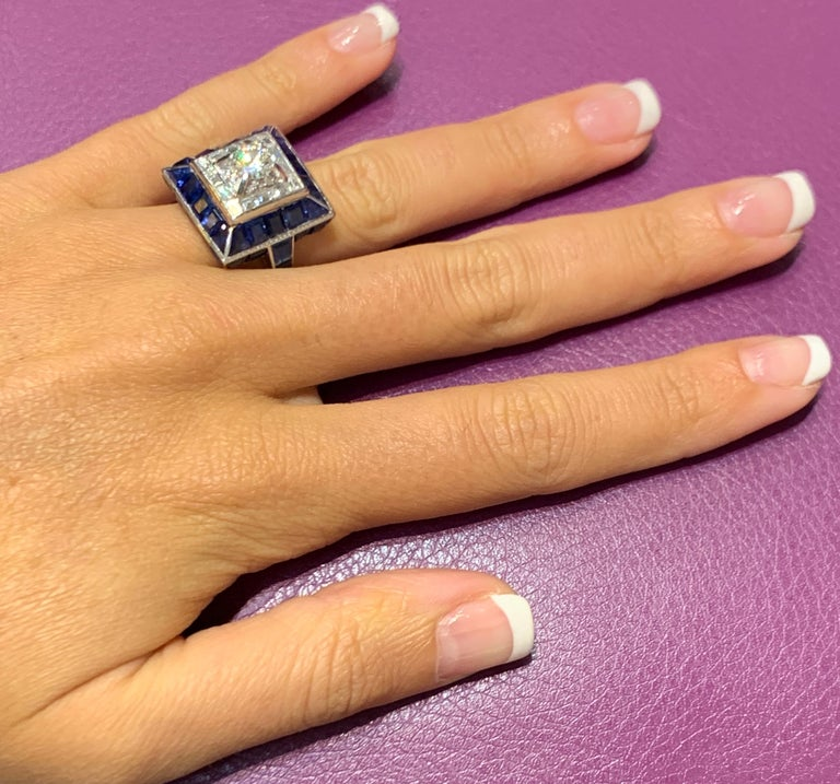 Art Deco Sapphire and Diamond Ring For Sale 2
