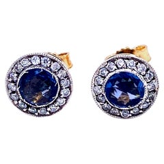 Art Deco Sapphire Diamond Stud Earrings