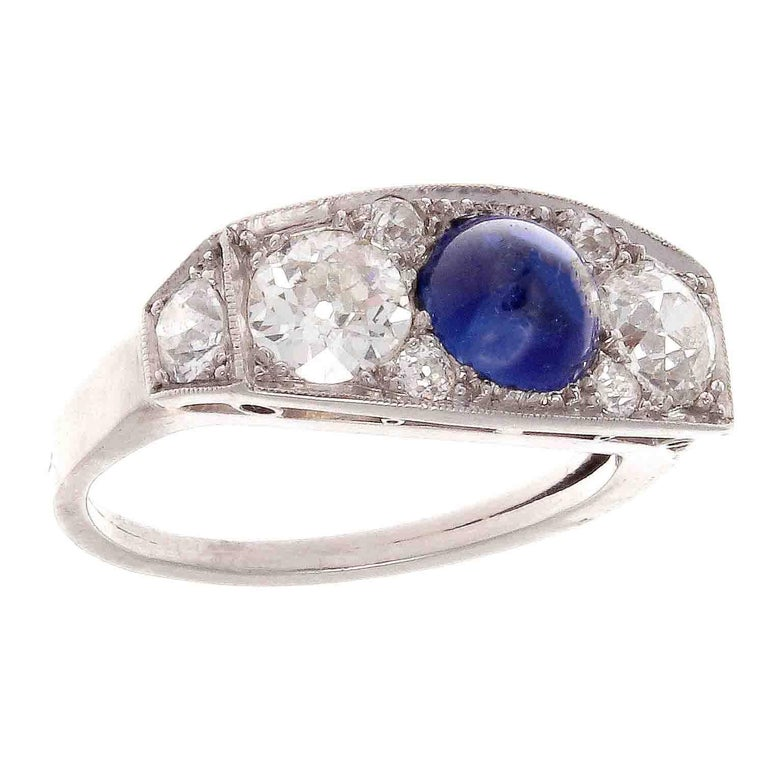 Art Deco Sapphire Diamond Three-Stone Platinum Ring