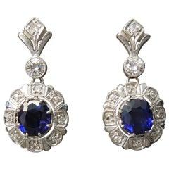 Art Deco Sapphire Earrings