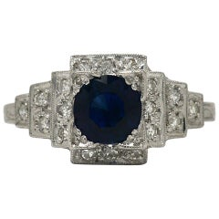 Art Deco Sapphire Engagement Ring Gemstone Antique Low Setting Staircase