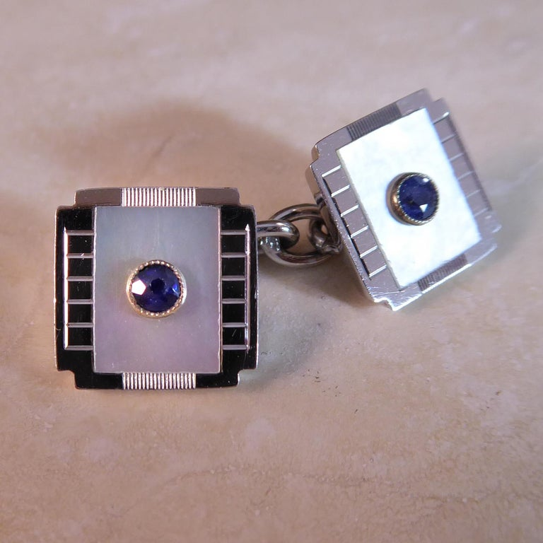 Men's Art Deco Sapphire and Mother of Pearl Cufflinks, White Gold, circa 1920s For Sale