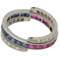 Art Deco Sapphire, Ruby and Diamond Convertible Eternity Flip Ring in Platinum