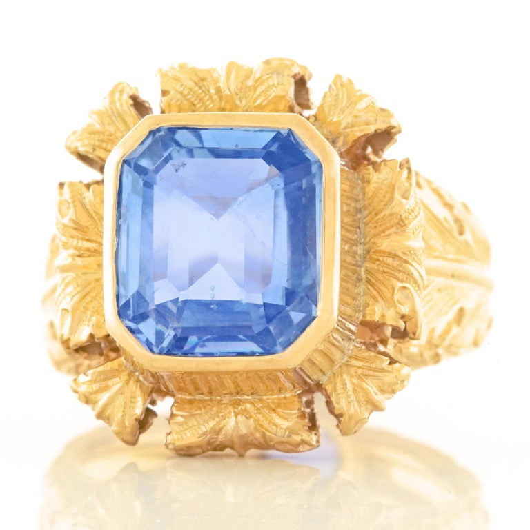 Art Deco Sapphire Set Gold Ring GIA No Heat In Excellent Condition For Sale In Litchfield, CT