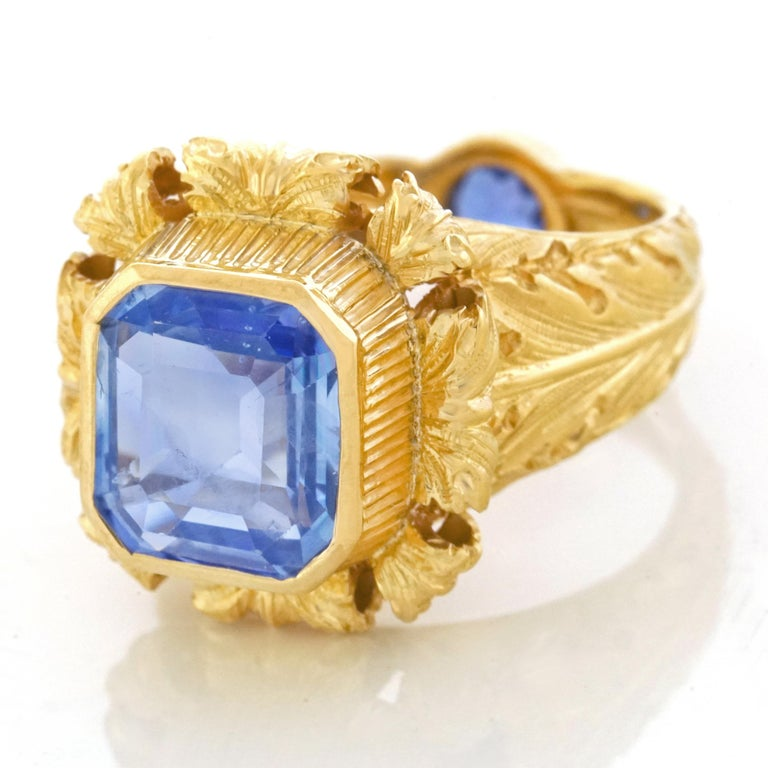 Art Deco Sapphire Set Gold Ring GIA No Heat For Sale 5