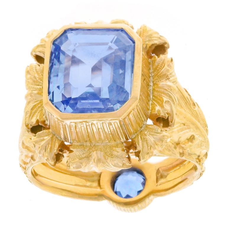 Art Deco Sapphire Set Gold Ring GIA No Heat For Sale