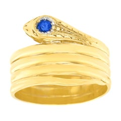 Art Deco Sapphire-Set Gold Snake Ring