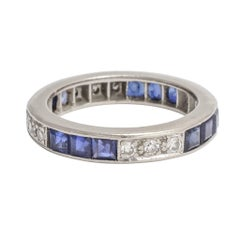 Art Deco Sapphire White Diamond Platinum Eternity Ring