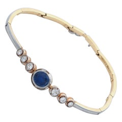 Art Deco Sapphire with Diamonds Platinum and Gold Halfway Flexible Bracelet