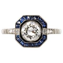 Art Deco Sapphires Diamonds Platinum Ring
