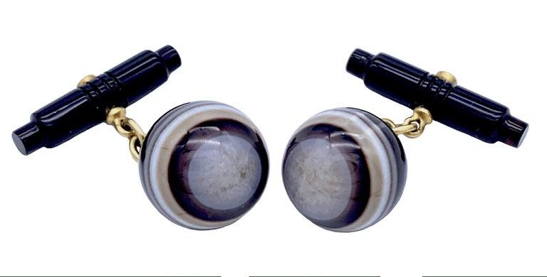 Round Cut Art Deco Sardonyx Onyx Agate Diamond 18 Karat Cufflinks Against the Evil Eye  For Sale