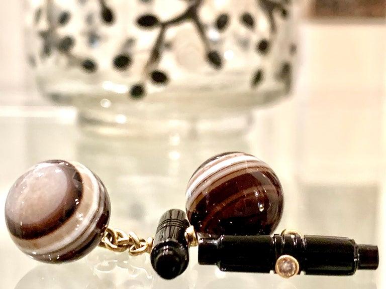 Art Deco Sardonyx Onyx Agate Diamond 18 Karat Cufflinks Against the Evil Eye  In Excellent Condition For Sale In Munich, Bavaria