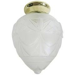 Art Deco Satin Acorn Ceiling Glass Globe Pendant