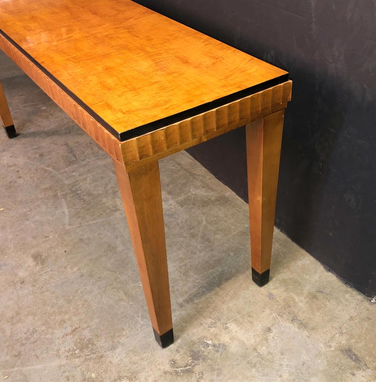 French Art Deco Satinwood Console Table For Sale