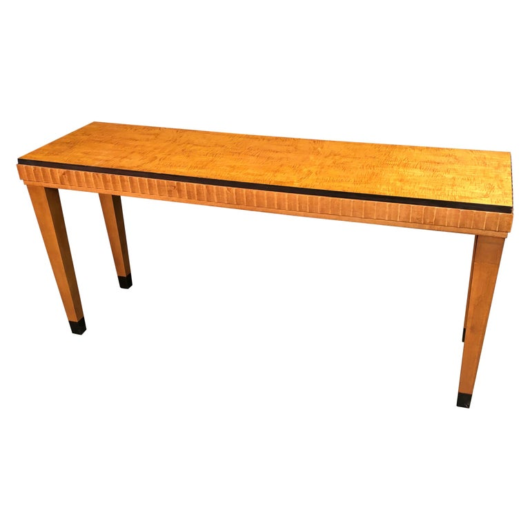 Art Deco Satinwood Console Table For Sale