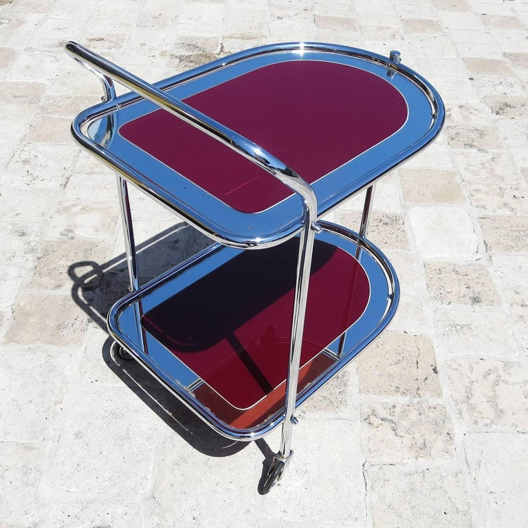 English Art Deco Savoy Cocktail Trolley Cart in Re-Chromed Metal For Sale