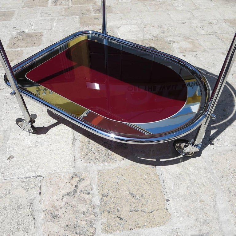 Painted Art Deco Savoy Cocktail Trolley Cart in Re-Chromed Metal For Sale