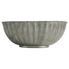 Art Deco Scalloped Edge Pewter Bowl by Just Andersen, Made in Denmark