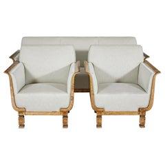 Art Deco Scandinavian Birch 3 Piece Suite by Carl Malmsten for David Blomberg