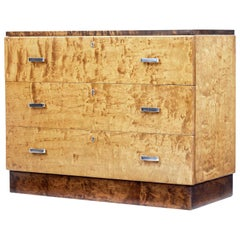 Art Deco Scandinavian Birch Chest of Drawers