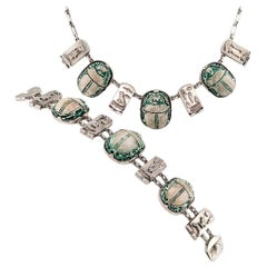 Art Deco Scarab Faience Silver Bracelet Necklace Set