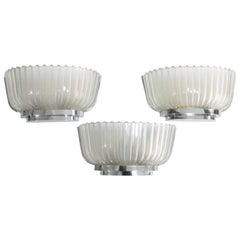 Art Deco Sconces by Barovier & Toso Nickel-Plated Brass, 1940s