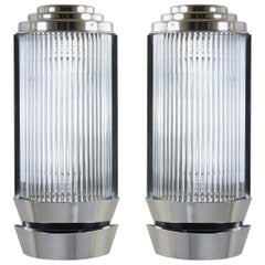 Art Deco Sconces in Glass and Nickel by Petitot
