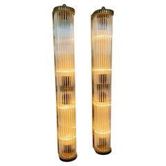 Art Deco Sconces in the Style of Petito Ribbed Glass