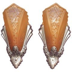 Art Deco Sconces with Original Slip Shades
