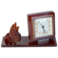 Art Deco Scottie Dog Desk Clock by Bayard Amber Bakelite French, circa 1930