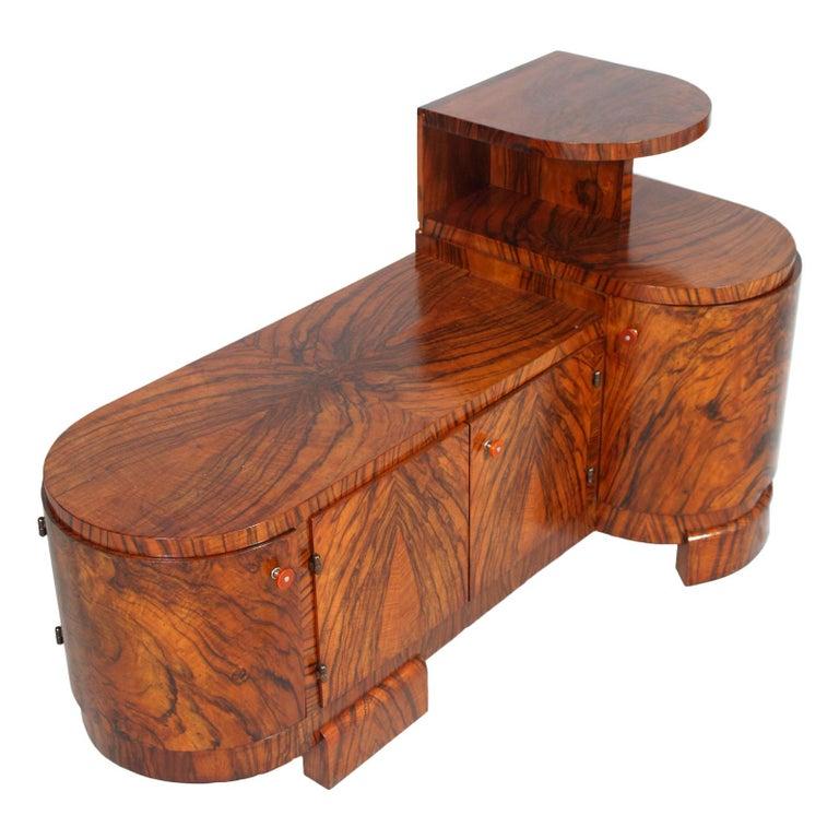 Italian Art Deco Sculptural Entry Cabinet, Mirrored Toilette by Borsani in Burl Walnut For Sale