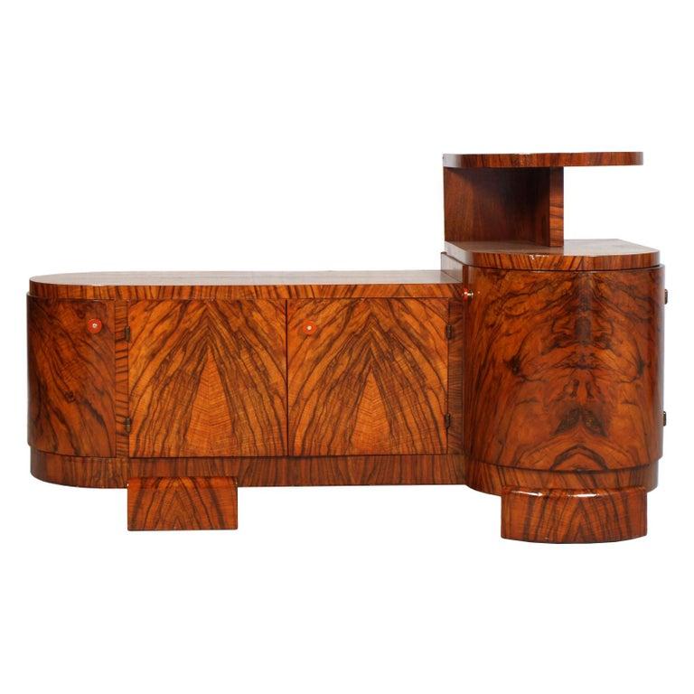 Art Deco Sculptural Entry Cabinet, Mirrored Toilette by Borsani in Burl Walnut For Sale