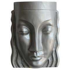 Art Deco Sculptural Female Face Wall Sconce, Rare