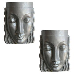 Art Deco Sculptural Female Face Wall Sconce Rare, Pair