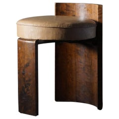 Art Deco Sculptural Flamed Birch & Leather Stool, 1920s