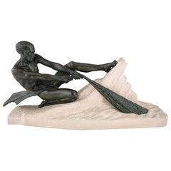 Art Deco Sculpture Athletic Male Nude Fisherman Max Le Verrier, France, 1930