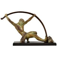 Art Deco Sculpture Bending Bar Man L'age Du Bronze Demetre H. Chiparus, 1930
