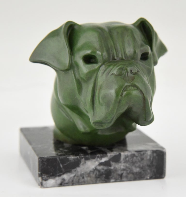 French Art Deco Sculpture Bulldog Paperweight Car Mascot Max Le Verrier, 1930 For Sale